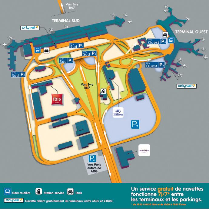 Plano del aeropuerto París Orly