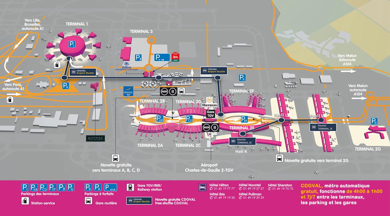 Plano del aeropuerto París Charles de Gaulle
