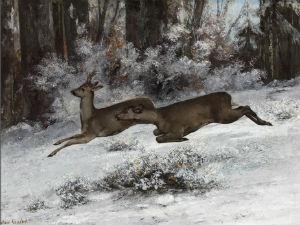 Représentation de Gustave Courbet, Le Change, épisode de chasse au chevreuil (1866)