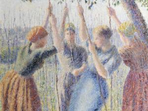 Paysannes plantant des rames, Camille Pissarro