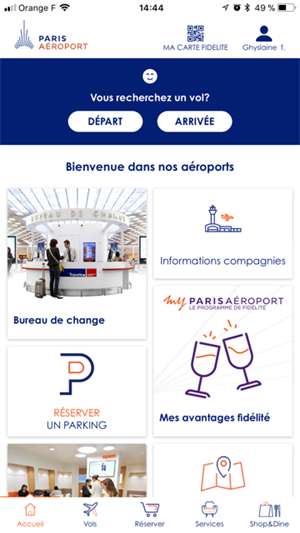 application iPhone et Android Paris Aéroport