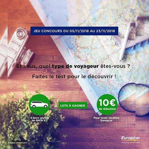 Jeu Concours Europcar Paris Aeroport